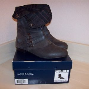 Faded Glory Shoes - Women's Size 6 Fold-Over Snap Boots